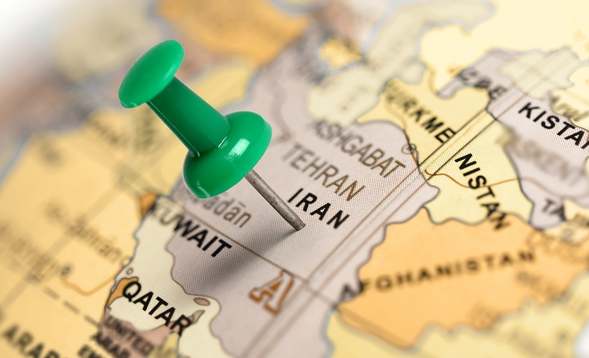 Location Iran. Green pin on the map.