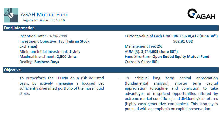 AGAH Mutual Fund Fact Sheet – June 2018