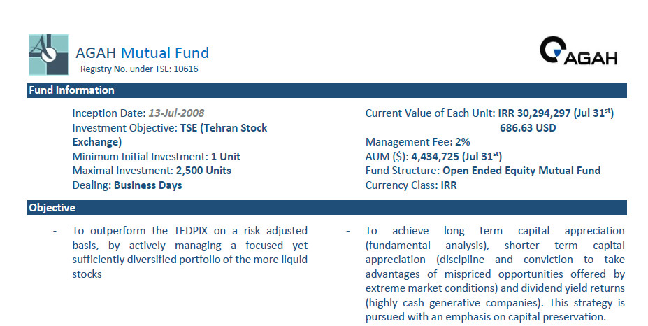 AGAH Mutual Fund Fact Sheet – July 2018